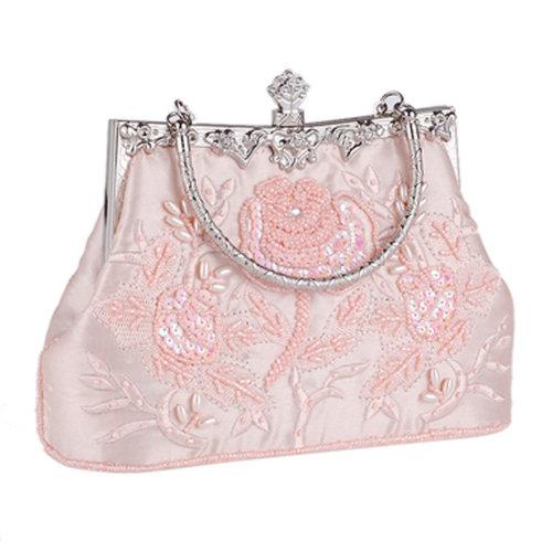 Women's Vintage Style Clutch Evening Bag Elegant Beaded Shoulder Bag Luxurious Handbag Purse,E