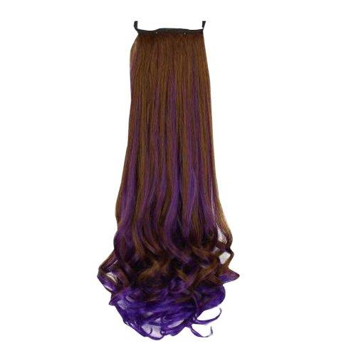 Light Brown&Purple Beautiful Long Curly Wave Women Wig