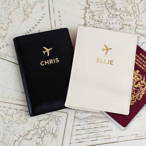 Personalised Mr & Mrs Gold Name Bride Groom Passport Covers Holder Set Wedding