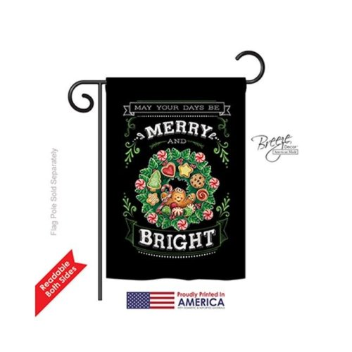 Breeze Decor 64115 Christmas Merry & Bright 2-Sided Impression Garden Flag - 13 x 18.5 in.