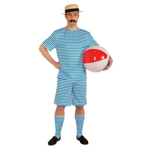 Blue Men's Beachside Clyde Retro Bathing Suit Costume -  costume mens fancy dress beachside clyde outfit victorian adult swimsuit FANCY DRESS COSTUME