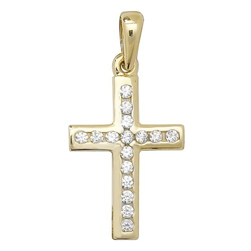 Childrens 9ct Gold Cubic Zirconia Cross Pendant On A Prince of Wales Necklace
