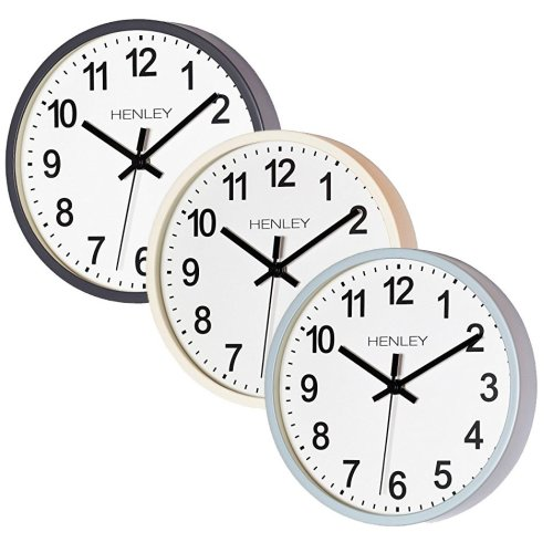 GLOW Quiet Sweep Grey 25cm Wall Clock – Premium Modern Style Round Battery Operated Wall Clock with Super Silent Non Ticking Quartz Sweeping Mechanical Movement Motion, Ultra Clear Face Dial Large Bold Black Time Numbering and Hands – Great for Home,