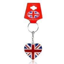 Union Jack Flag Love Heart Glitter Keyring Keychain Souvenir Gift UK GB British