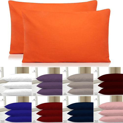2X PILLOW CASE POLY COTTON PAIR PACK PILLOW COVER