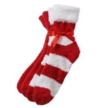 Earth Therapeutics Thera Soft Shea Butter Striped &amp Solid Moisturizing Socks RedWhite (pack of 2)