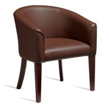 Osling Tub Chair Dark Walnut Legs Brown Padded Seat