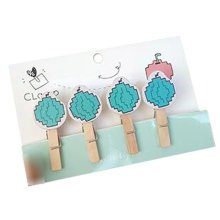Creative Natural Wooden Lovely Photo Paper Peg Pin Craft Clips with 52CM Jute Twine, NO.2