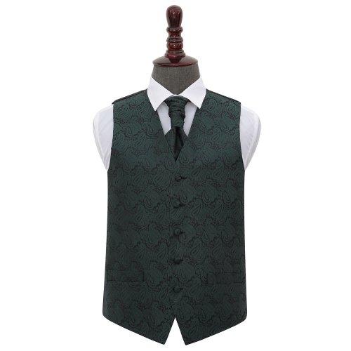 Emerald Green Paisley Wedding Waistcoat & Cravat Set 38'