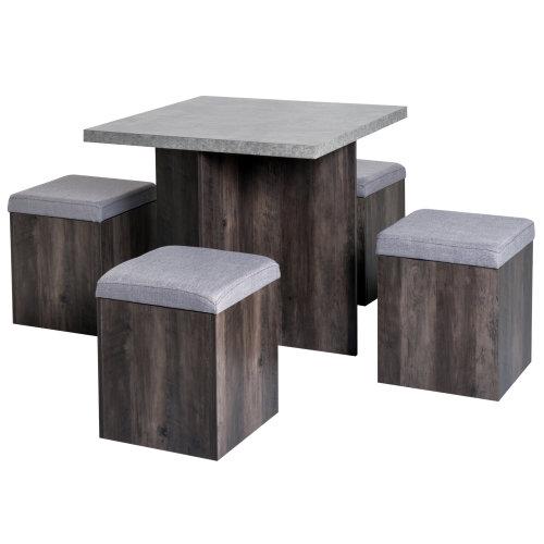 Homcom Modern Table & 4 Ottoman Seats | Space-Saving Dining Set