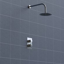 Concealed 2 Dial Thermostatic Shower, Wall Mounted Round Head