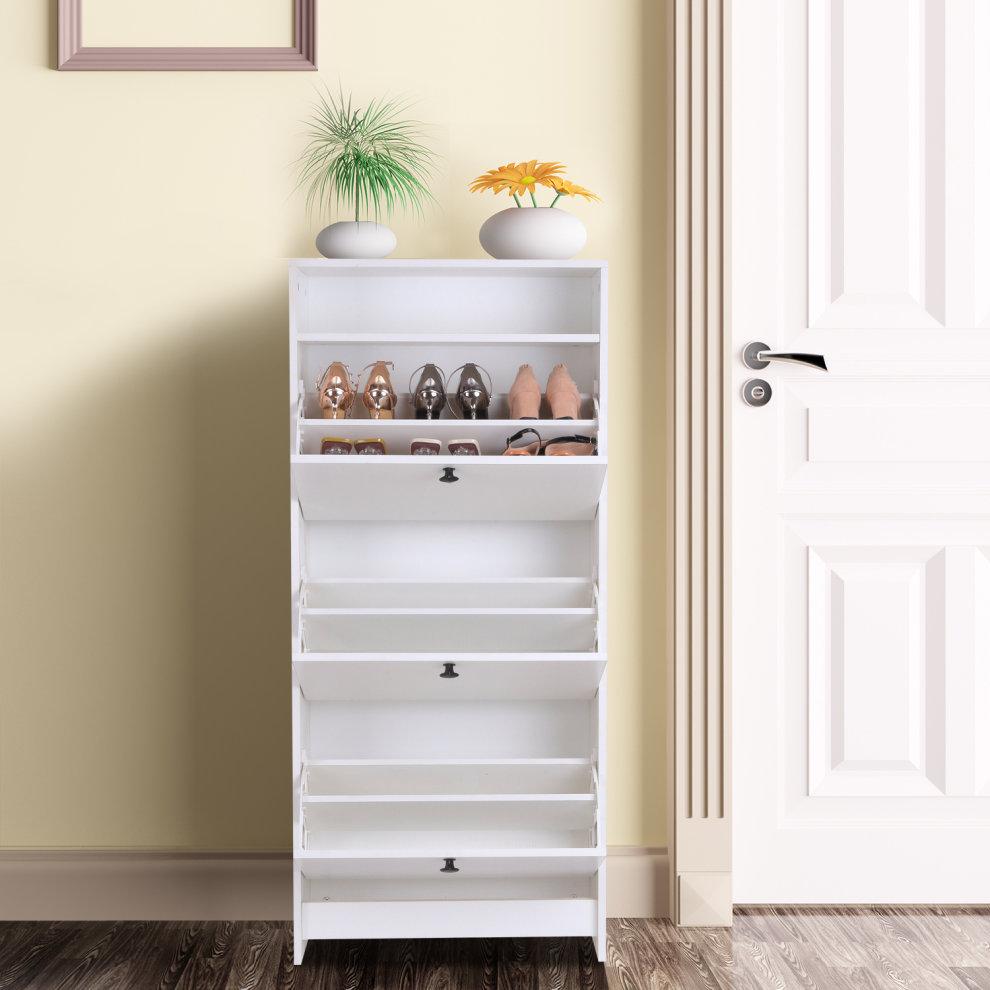 Homcom Wooden 3 Pull Down Drawers 18 Pairs Shoe Storage Cabinet Footwear Organiser Rack Hallway Furniture With Open Shelf White