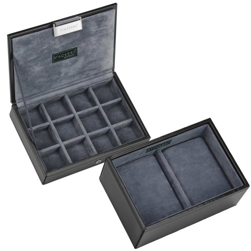 Stackers Black Leatherette Cufflink And Watch Box Cufflink Ring Storage Case Men