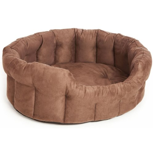 Premium Oval Drop Front Softee Bed Faux Suede Brown Size 5 76x64x24cm