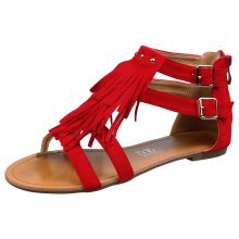 Penny Womens Flats Low Heels Peep Toe Strappy Fringed Sandals