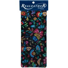 "Realeather Crafts Goat Leather Trim Piece 9""X3""-Kimono Black"
