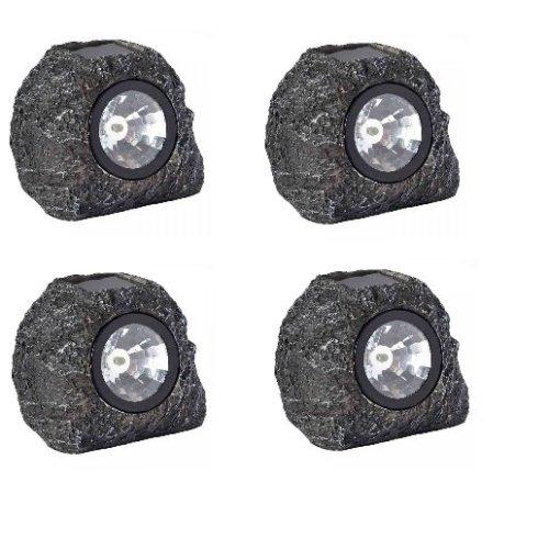 Pk Of 4 Solar Ed Super Bright 3 Lumen Spotlight Garden Path Granite Rock