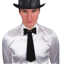 Black Bowtie Cravat With Gold Studs