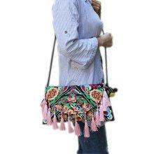 Embroidery Needlecrafts Handmade Embroidery, Tassel bag / Messenger Bag(B)