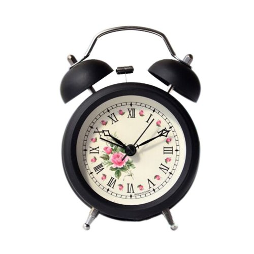 Metal Creative Small Night-light Alarm Clock with Loud Alarm Bell (Rose)