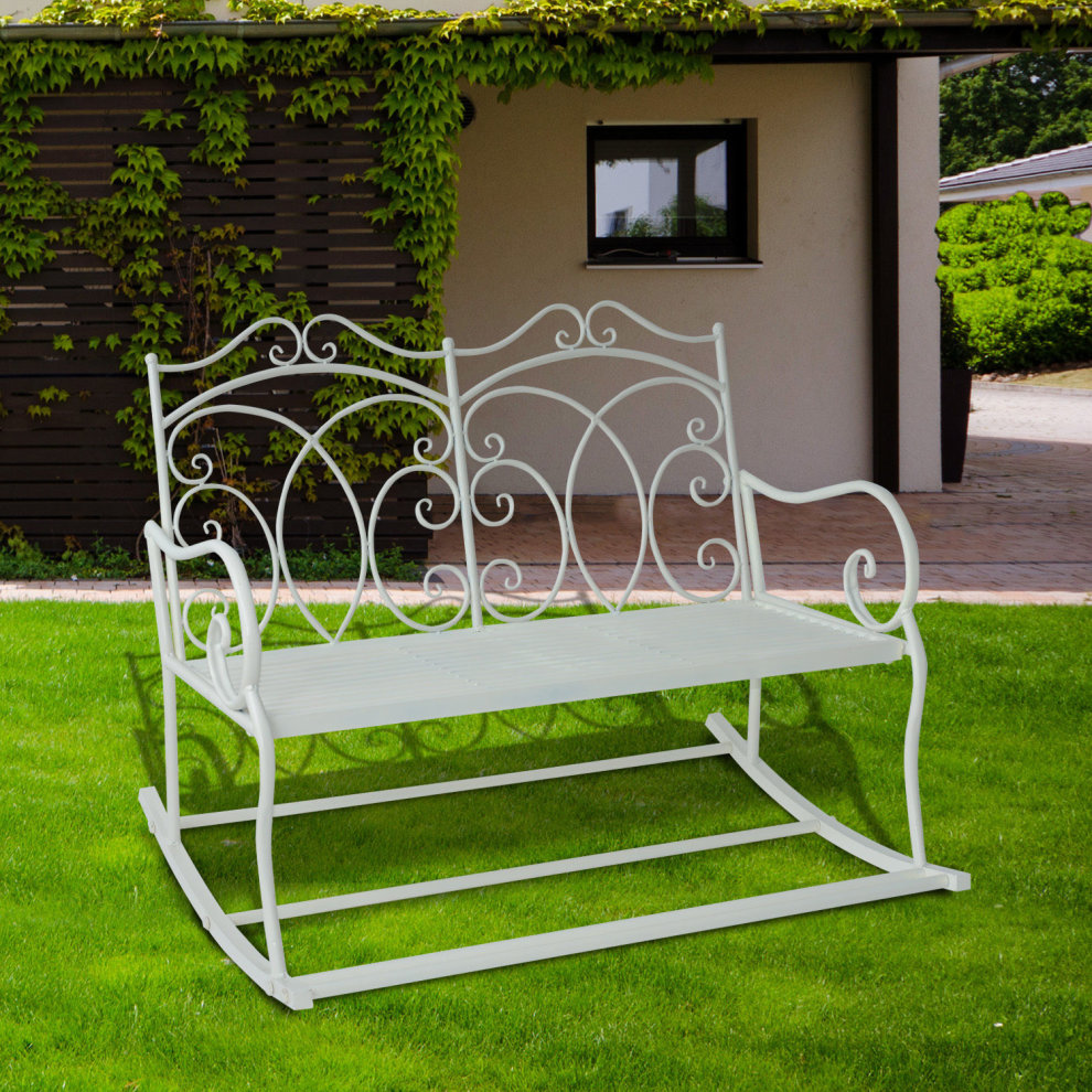 Outsunny 2 Seater Garden Bench Rocking Chair W Decorative Backrest White