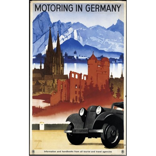 Advertising poster - Motoring in Germany - High definition printing on stainless steel plate