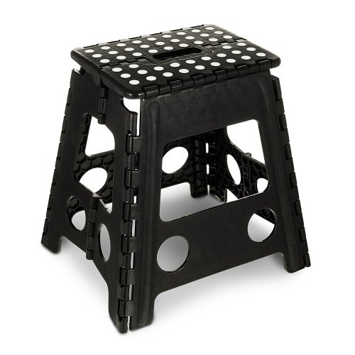GLOW Heavy Duty Large Folding Step Stool - Black Extra Tall 15 Inch Strong Plastic Anti Slip Stepping Stool for Kids and Adults - Ideal for Use around the Home, Kitchen and Workplace - Compact and Lightweight Ladder Folds Flat with Carry Handle for E