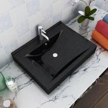 Rectangular Ceramic Basin Black with Faucet Hole 60x46 cm