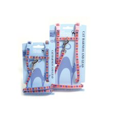 Cat Walk Harness & Lead Set Paw Print Assorted Med (Pack of 3)