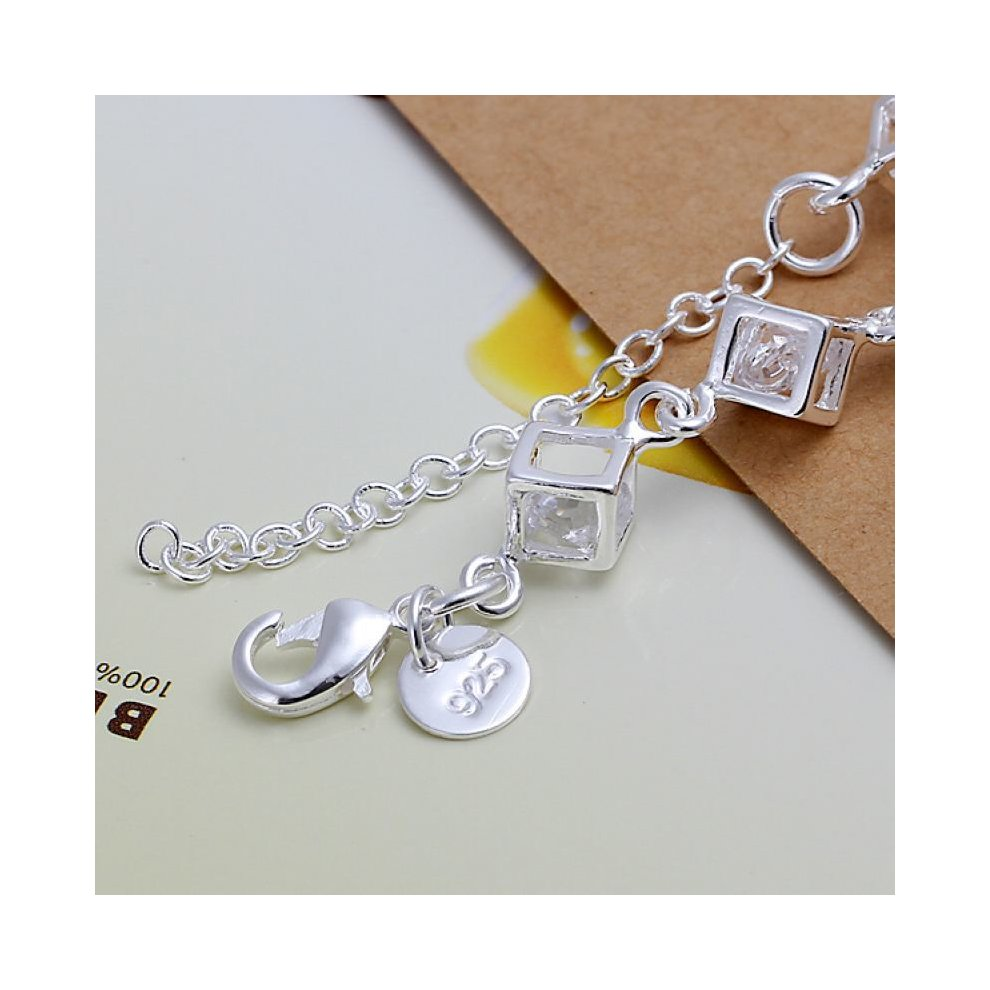 7e29e0af17 ... Silver Plated Rhinestone Clear Cube Chain Link Bracelet 8 Inch Bangle  Anklet Rhinestone Hollow - 1 ...