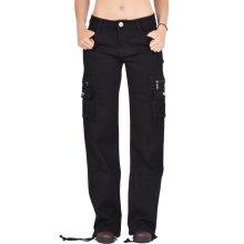 Wide Leg Cargo Pants Combat Trousers - Black
