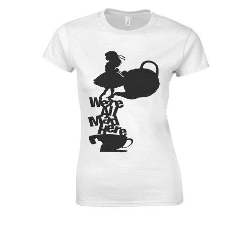 Alice in Wonderland Tea All Mad Here White Women T Shirt Top