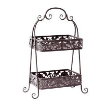 Outsunny 2-Tier Plant Holder | Metal Flower Stand