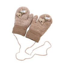 Kids Winter Warm Mittens Plush-lined Gloves With String - Horse, #02