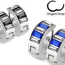 Pair of Crystal Combination Lined Stainless Steel Hinged Snap Close Huggy Hooped Earrings 0.8mm Thickness