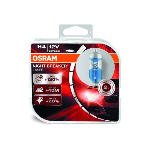 OSRAM NIGHT BREAKER LASER H4, halogen headlamp, h4 bulb, 64193NBL-HCB, 12 V passenger car