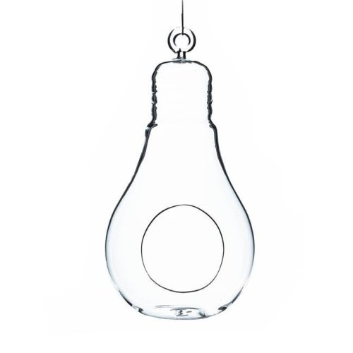 Athenas Garden HCH0607 7 x 3.5 in. Clear Bulb Hanging Glass Terrarium & Candle Holder, Set of 2