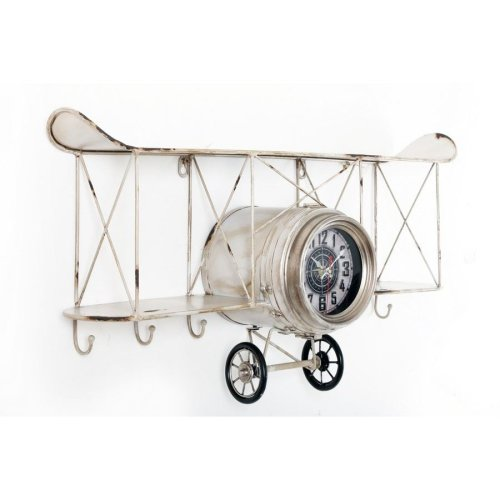 67X37Cm Vintage Metal White Plane Shape Wall Hanging Clock With Shelf And Hooks Home Mantle Office Decoration