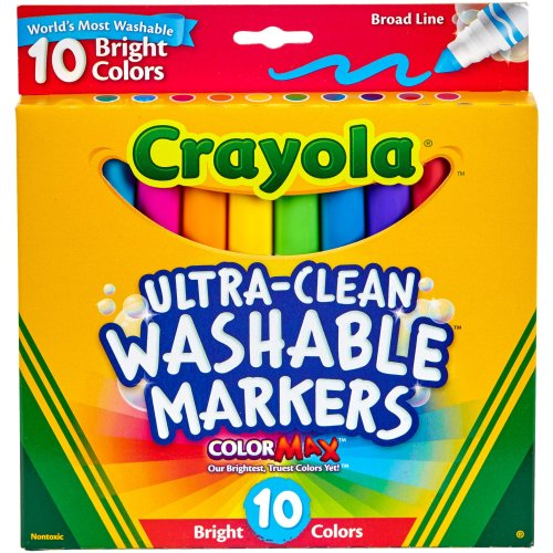 Crayola Ultra-Clean Color Max Broad Line Washable Markers-Bright Colors 10/Pkg