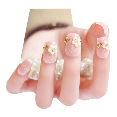 2 Boxes(48 Pieces) Wedding Lovely Style DIY 3D Design False Nails, Pink