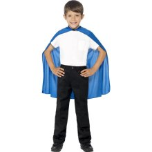 Smiffy's Children's Cape, Blue, Mid Length, One Size, 44078 -  cape blue dress fancy kids superhero boys childrens girls childs smiffys accessory one