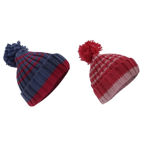 Childrens/Kids Girls Striped Winter Bobble Hat