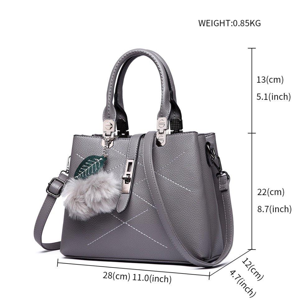 5de7a8a0c4 ... (Grey) Miss Lulu Women Shoulder Handbag Fur Ball Tote Cross Body Bag -  6.