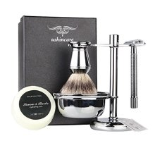 6 Piece Shaving Gift Kit  Includes Badger Hair Shaving Brush,Double Edge Safety Razor,Chrome Stand,Bowl,Shaving Soap,2 Replacement Blades
