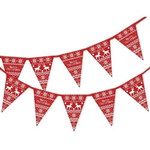 Red Fair Isle Christmas Bunting | Christmas Bunting