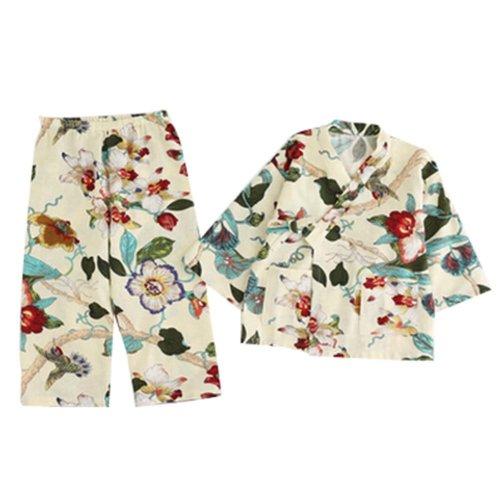 Cotton and Linen Bathrobe Girl Pajamas Children Kimono Khan Steamed Clothes