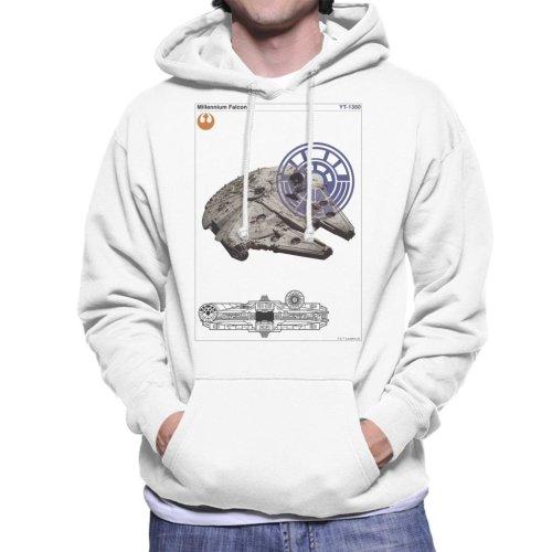 Star Wars Millenniumm Falcon Orthographic Men's Hooded Sweatshirt