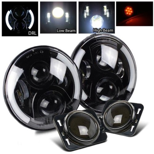 TurboMetal 7 in. Round Cree Black LED Projector Headlight for Jeep JK TJ LJ CJ - Smoke Amber