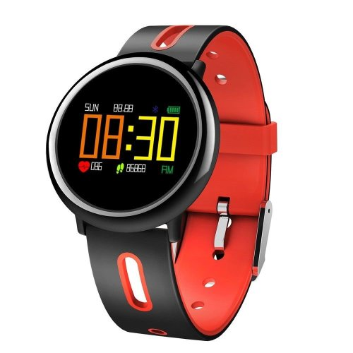 Waterproof Sports Smartwatch Step / Heart / Sleep Monitors + More - Black and Red Strap
