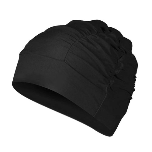 Black - Polyester Women Swimming Cap Long Hair Ladies Bathing Cap Swimming Hat
